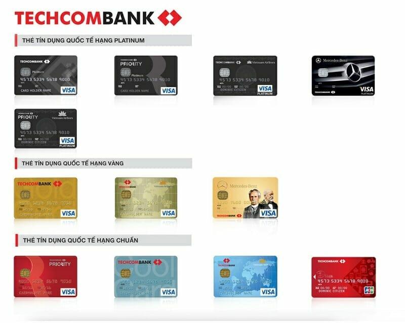Các loại thẻ tín dụng Techcombank