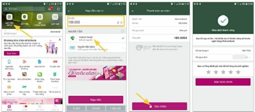 Cách nạp tiền vào ví điện tử Momo