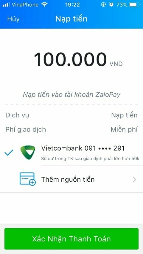 Chọn nguồn tiền nạp vào Zalo pay