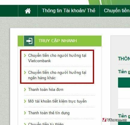 chuyen khoan tren vietcombank internet banking