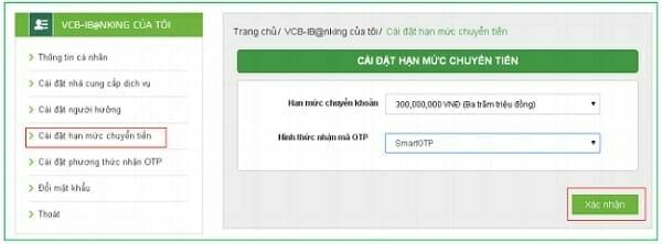 Đăng ký hạn mức chuyển khoản VCB iBanking