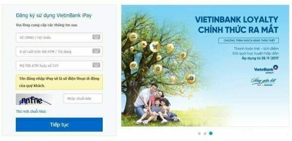 Đăng ký Viettinbank iPay