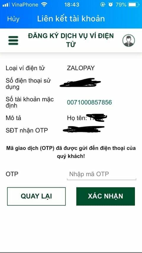 liên kết ví Zalo pay với ngân hàng