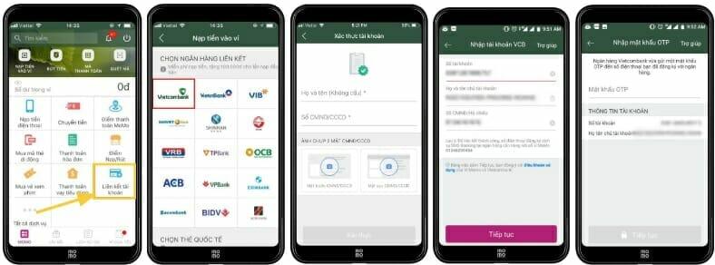 Cách liên kết Ví momo với tài khoản ngân hàng