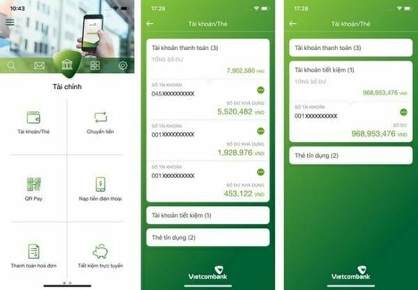Mở tài khoản tiết kiệm vietcombank online trên app
