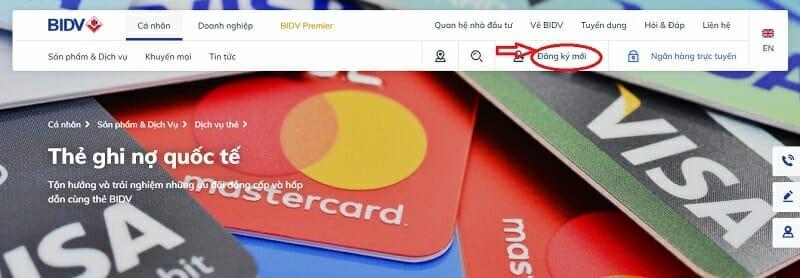 Chọn loại thẻ muốn đăng ký