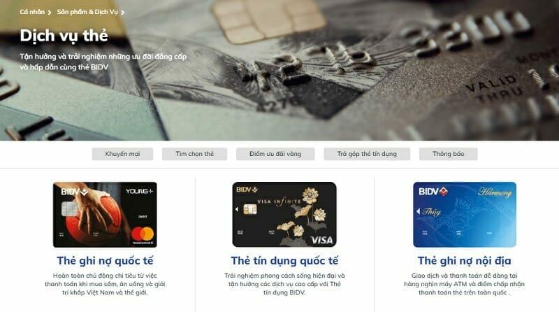 Giao diện đăng ký mở thẻ online BIDV