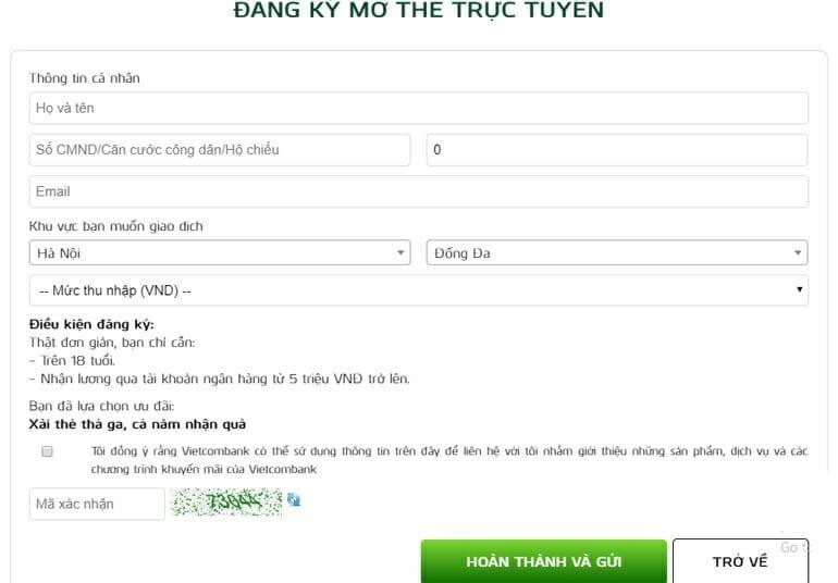 Đăng ký mở thẻ tín dụng VCB online