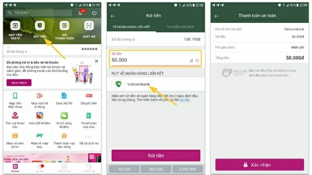 rút tiền từ ví Momo về ngân hàng liên kết