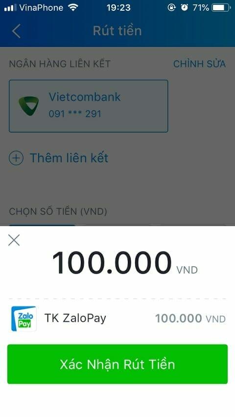 Rút tiền Zalo Pay về ngân hàng liên kết