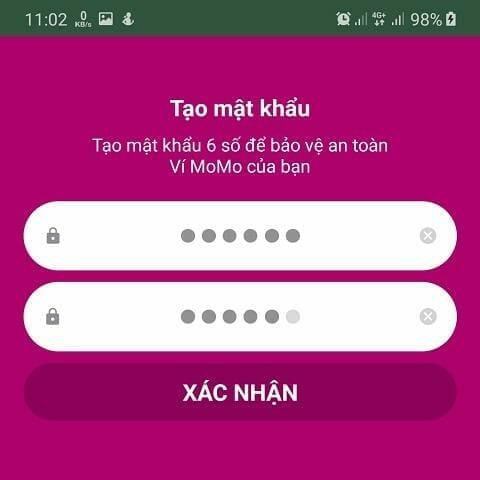 Tạo mật khẩu đăng nhập cho ví momo