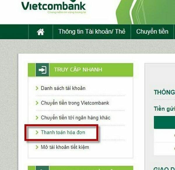 Thanh toán hóa đơn trên VCB iBanking