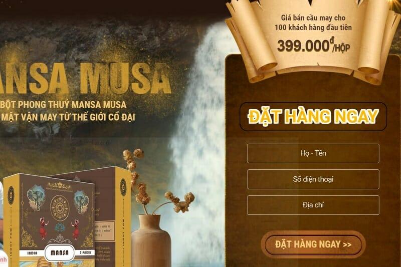 landing page Mansa - VN