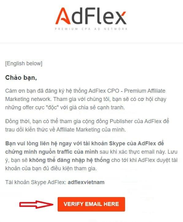 Email xác nhận đăng ký Adflex